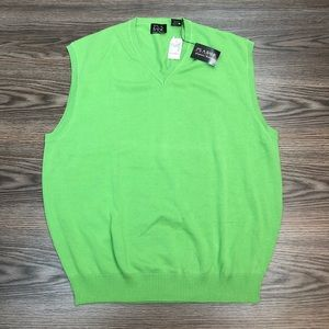 Jos A Bank NWT Lime Green Sweater Vest L
